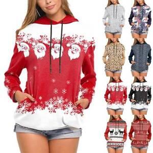Women Casual Christmas Xmas Hoodies Sweatshirt Hoody Pocket Baggy Tops Plus Size