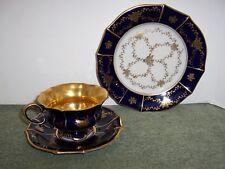 Ech Cobalt LINDNER KUEPS BAVARIA Footed Cup,Saucer & Dessert Plate