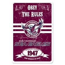 Official NRL Manly Sea Eagles Obey The Rules Retro Metal Sign Decoration