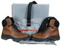 Prada Mens Brown Leather Lug Sole Combat Hiking Boot & Belt 4T0397 US 9