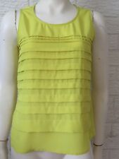 Basque Size 6 Lemon Lime Pleated Sleeveless Top Evening Work
