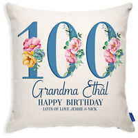Personalised 100th Birthday Cushion Cover Floral Grandma Auntie Mum Gift BC08