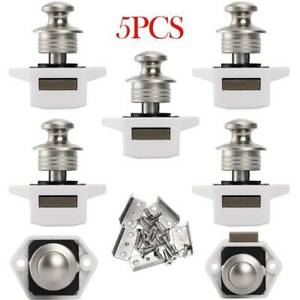 5X Mini Push Button Catch Cupboard Pop Up Knob Lock Handle Latch Hardware Set