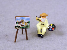 J CARLTON BY GAULT SET OF TWO FRENCH MINIATURE MONET IN CHAIR FIGURINE & EASEL