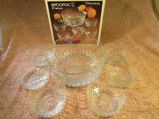 Vintage Arcoroc Clear Glass Trifle Bowl And 5 Matching Dishes In Original Box