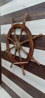 Marine Collectible Nautical Brass & Wooden Ship Wheel Wall Decor Item