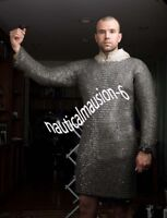 Presents X LARGE BLACK FLAT RIVETED Long SLEEVES CHAINMAIL SHIRT  ,.