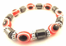 Hamsa Red Black Bracelet Evil Eye Charm Kabbalah Hand Fatima Amulet Silver Beads