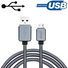 Genuine Nylon Braided Micro USB Data Charger Charging Cable for Samsung Galaxy