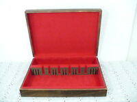 Vtg Sterling Flatware Walnut wood Storage Chest Case Box w/ red felt interior