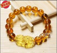 New 10mm Feng Shui Citrine Yellow Pi Yao Pi Xiu Bracelet Bead for Wealth Luck