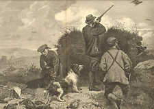 Hunting, Driving Grouse On The Moors, Dogs, Setters, 1876 Antique Art Print