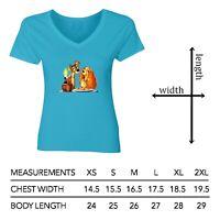 Disney Lady and the Tramp Spaghetti Kiss Women Junior Girl V-Neck Short T-Shirt