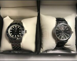 2 X Men's Rotary Watches. Original Black Leather & Stainless Steel Strap & Boxes