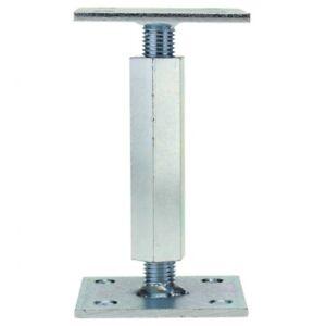 Pfostenträger Stützenfuss 100x100mm höhenverstellbar mit Platte M20 verzinkt 20