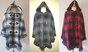 New Ladies Tartan Hooded Poncho Cape Fleecey Shawl Plus Size 10-32 MADE IN UK