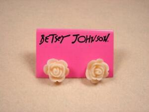 New Betsey Johnson Pink Rose Flower Gift Stud Earrings