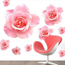 Romantic 3D Pink Rose Flower Wall Decals Mural Removable PVC Sticker Home Decor