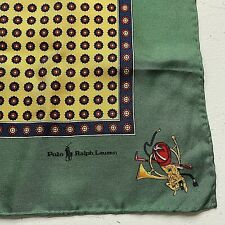 "Vintage Polo Ralph Lauren 17"" Silk Pocket Square Hankie Handkerchief Equestrian"