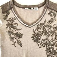 Miss Me Brown Floral Sweater Top Rhinestones Embellished Women's Size SMALL