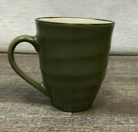 """1 Home Emerson Green Stoneware 4 3/8"""" Tall Coffee Cup Speckled Green Brown Rim"""