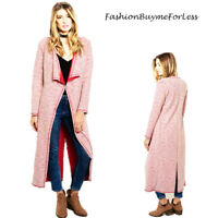 BOHO Ivory Wine Tweed Knit Draped Open Long Sweater Cardigan Jacket Coat S M L
