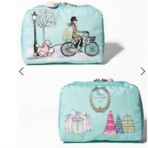 Les Secrets Laduree & LeSportsac Cosmetic Bag PROMENADE Blue From JAPAN