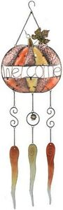 """Pumpkin Welcome Wind Chime-Metal and Glass--30""""--SALE--FLAWED"""