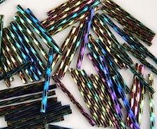 100pcs Czech Twisted Green Iris Aurora Borealis Finish Bugle Glass Beads 30mm