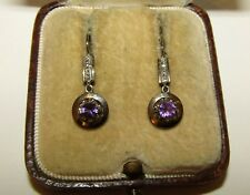 CHARMING, ART DECO, FRENCH, 18 CT GOLD DORMEUSES EARRINGS/ NATURAL AMETHYST