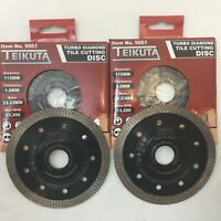 2 X PORCELAIN TILE TURBO THIN DIAMOND DRY CUTTING BLADE / DISC 115 mm GRINDER