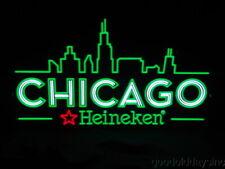 "Heineken Chicago Beer Sign Light-Up Led Advertising Sign 32"" Bar Light"
