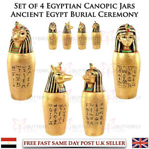Set of 4 Egyptian Canopic Jars Ancient Egypt Burial Ceremony Four Sons of Horus