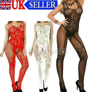 Women Lingerie Fishnet Crotchless Body Stocking Bodysuit Sexy Babydoll Underwear
