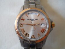 Raymond Weil Parsifal Day Date Gold Bezel Steel Automatic Men's Watch 2965