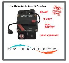 50A Amp Waterproof Circuit Breaker Dual Battery IP67 Manual Resettable 12V Volt