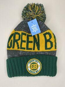 GREEN BAY Winter Pom-Pom Knit Hat Beanie Cuffed Cap *NWT*  Youth Women