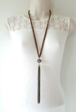 """28"""" long antique gold tone chain - cord necklace with diamante & chain pendant"""