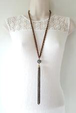 "28"" Largo Tono Oro Antiguo Collar De Cadena Cordón con Diamante & Cadena Colgante"