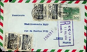 MOZAMBIQUE 1950 5v ON REGD AIRMAIL COVER FROM LOURENCO-MARQUES TO PARIS FRANCE