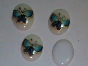 432 VINTAGE 10x8 Neon Blue Butterfly Rhinestones w/ Gold Glitter Trim On Wings