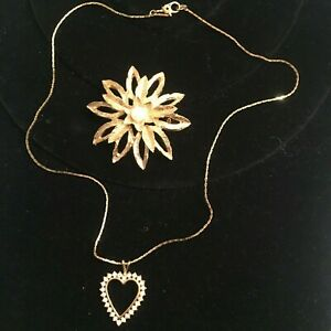"""Monet Sweetheart Necklace Clear Rhinestones 16"""" Single Strand & Floral Brooch"""