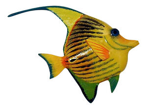 Tropical Bright Yellow Striped Angel Fish Hanger Wall Decor