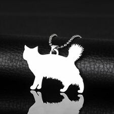 Stainless Steel American Bobtail Bobbed Cat Kitten Silhouette Pendant Necklace