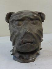 Vintage Folk Art Pottery Sculpture of a Bull Dog Head Signed by Artist