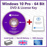 Microsoft Windows 10 Pro 64Bit 💿+🔑 Installation Disc DVD & License Key Card