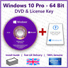 Microsoft Windows 10 Pro 64Bit 💿+🔑 Installation Disc DVD & License Key Card
