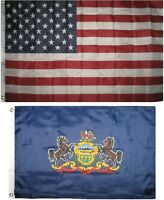 Wholesale Combo Lot 3x5 USA Flag & State of Pennsylvania  2x3 2 Flags Banner