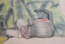 Vintage pencil drawing still life teapot signed