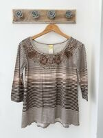 Anthropologie Brown Striped Breaded 3/4 Sleeve Top Women's Size XS NWT